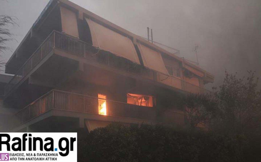 Εικόνες βιβλικής καταστροφής στη Ραφήνα - Στις φλόγες σπίτια και αυτοκίνητα